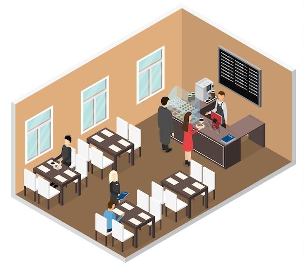Wnętrze kawiarni w widoku izometrycznym