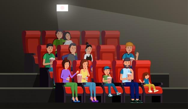 Wnętrze kina z ludźmi jedzenie popcornu i ciesząc się filmem w pałacu obrazu