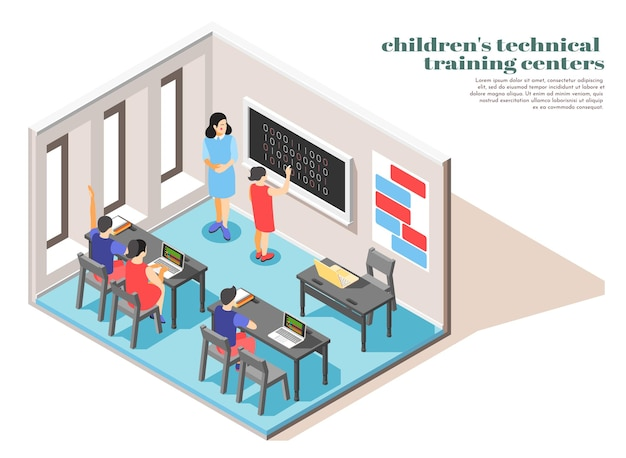Wnętrze klasy ośrodka szkolenia technicznego dzieci w widoku izometrycznym