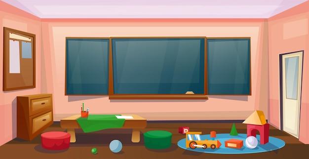Wnętrze klasy szkolnej z biurkiem i tablicą dla dzieci