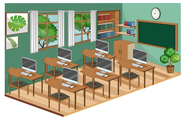 Wnętrze klasy z meblami w kolorze zielonym