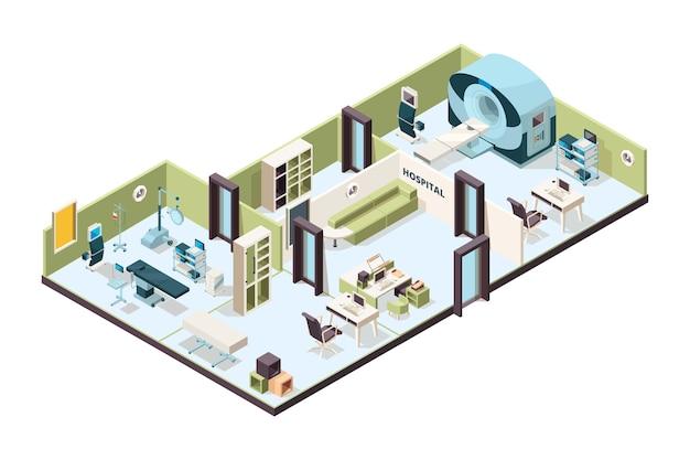 Wnętrze kliniki. biuro szpitalne nowoczesne poczekalnie wewnątrz budynków pomieszczenie z meblami izometrycznymi. ilustracja medyczny wewnątrz wnętrza szpitala 3d