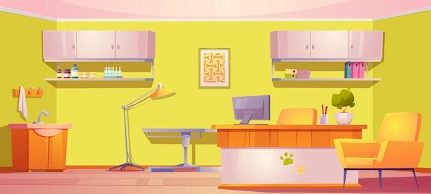 Wnętrze kliniki weterynaryjnej weterynarz z meblami