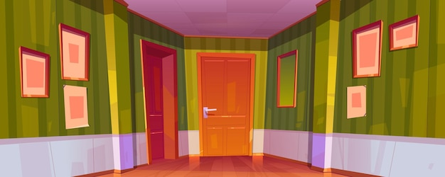 Wnętrze korytarza domowego z zamkniętymi drzwiami do pokoi, zieloną tapetą, ramkami do zdjęć i lustrem na ścianie