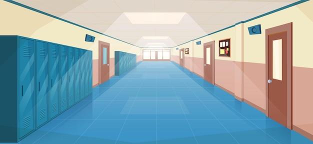 Wnętrze korytarza szkolnego z drzwiami wejściowymi, szafkami i tablicą ogłoszeń na ścianie. pusty korytarz w college'u, uniwersytecie z zamkniętymi drzwiami sal lekcyjnych. ilustracja wektorowa w stylu płaskiej