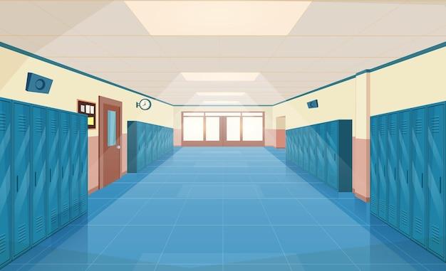 Wnętrze korytarza szkolnego z drzwiami wejściowymi,