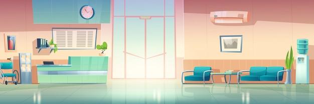Wnętrze korytarza szpitalnego, hol przychodni. ilustracja kreskówka wektor korytarza oczekiwania w szpitalu z krzesłami, kontuarem, drzwiami, chłodnicą wody i odżywką na ścianie