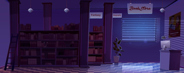Wnętrze Księgarni Nocnej Pusty Pokój Księgarni Darmowych Wektorów