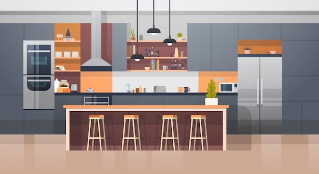 Wnętrze kuchni pokój z nowoczesnym licznikiem mebli i urządzeń