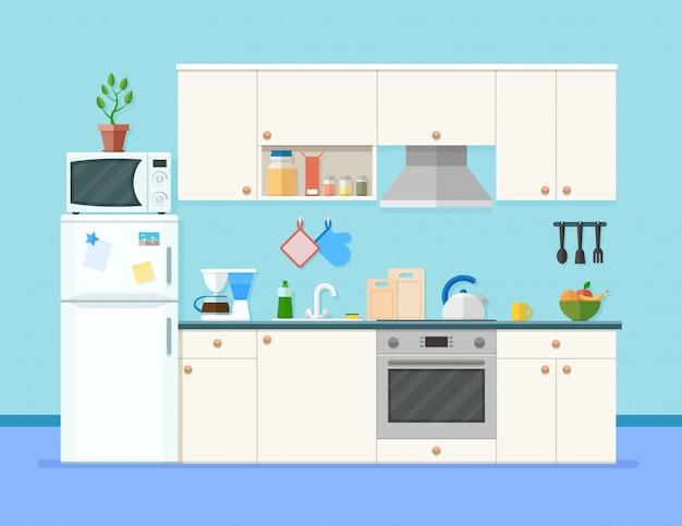 Wnętrze kuchni z meblami. kuchenka mikrofalowa, lodówka, ekspres do kawy i inny sprzęt, naczynia kuchenne i akcesoria do gotowania.