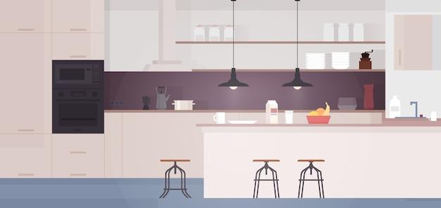 Wnętrze kuchni ze stołem, kuchenką i lodówką. ilustracja płaski.