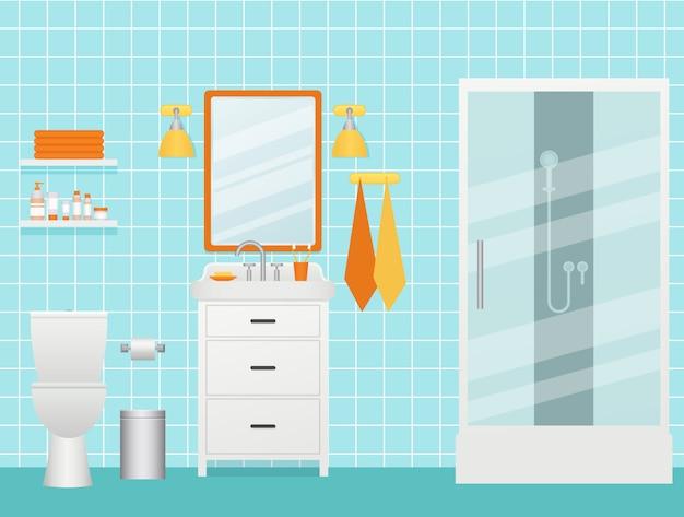 Wnętrze łazienki ilustracja. pokój z kabiną prysznicową, umywalką i toaletą.