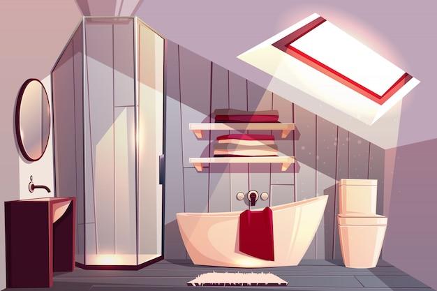 Wnętrze łazienki na poddaszu. nowoczesna toaleta z przeszkloną kabiną prysznicową i półkami na ręczniki