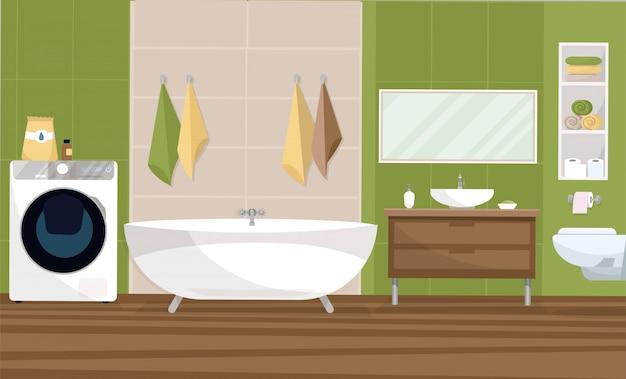 Wnętrze łazienki w nowoczesnym stylu z płytką w 2 kolorach zielonym i beżowym. wanna, stojak na zlew, wisząca toaleta, półka z ręcznikami, duża pralka. płaska ilustracja kreskówka