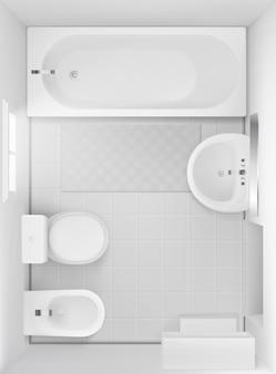 Wnętrze łazienki, widok z góry