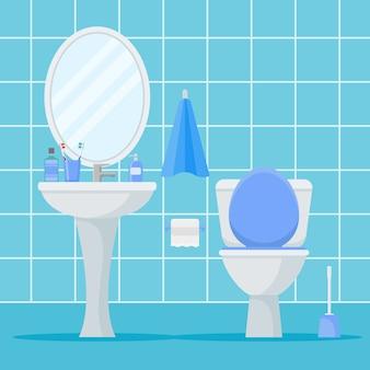 Wnętrze łazienki z muszlą klozetową, umywalką i lustrem. płaski styl