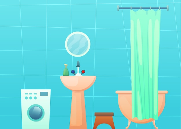 Wnętrze łazienki z wanną i zasłoną, pralką, lustrem i umywalką.