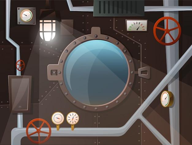 Wnętrze łodzi podwodnej z iluminatorem, rurami, wskaźnikami, dźwigniami, lampą, żelazną ścianą z ćwiekami. zobacz dwa ocean. styl kreskówki, wektor