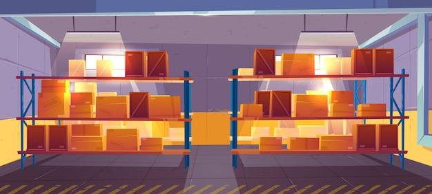 Wnętrze magazynu, logistyka. dostawa, ładunek, usługi pocztowe towarów.