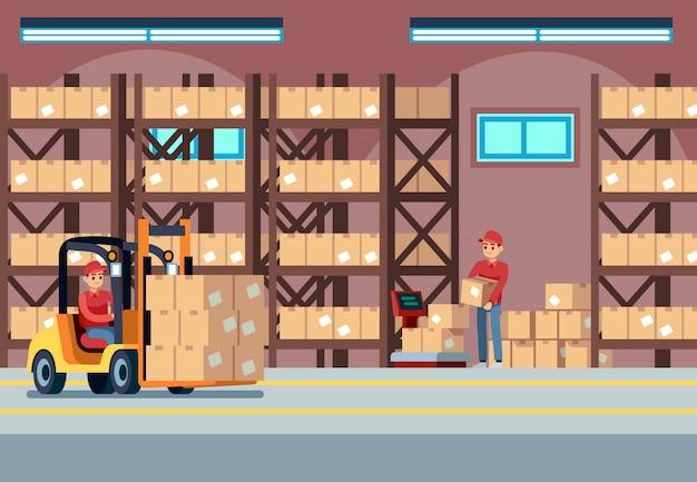 Wnętrze magazynu. ludzie ładujący pracujący w magazynie przemysłowym, transport i wózek widłowy, koncepcja logistyczna wektor dostawy samochodów ciężarowych