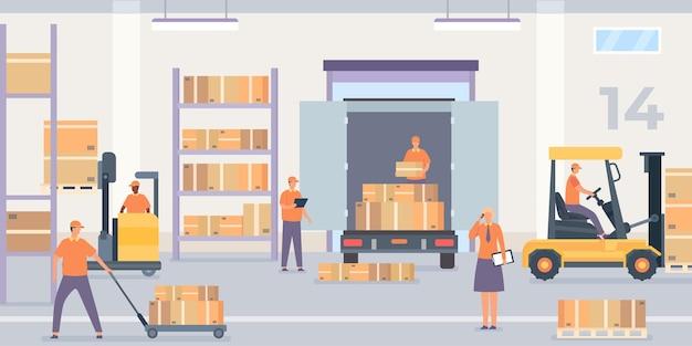 Wnętrze magazynu. regał i półka ze skrzynkami paczkowymi, pracownikami i wózkiem widłowym z towarami. magazyn hurtowy, koncepcja wektor usługi logistycznej. ilustracja wnętrza magazynu i magazynu