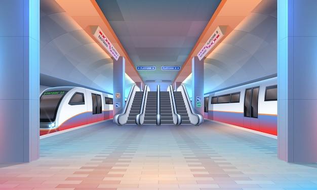 Wnętrze metra lub stacji metra