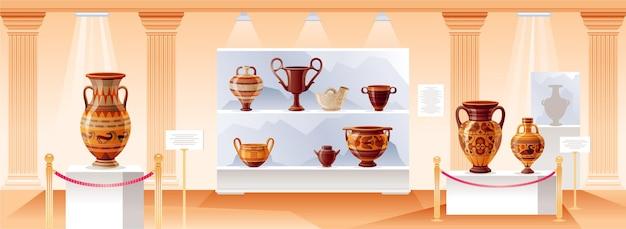 Wnętrze muzeum. ilustracja wektorowa sztuki starożytnej.