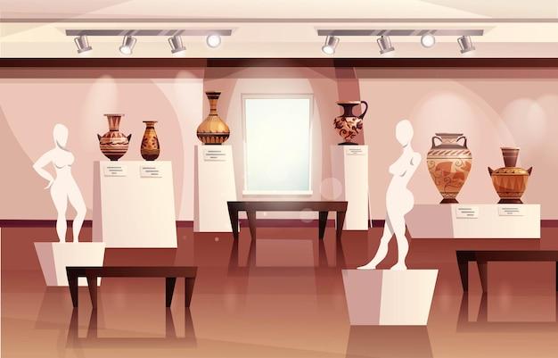 Wnętrze muzeum z antycznymi greckimi wazami starożytna tradycyjna rzeźba w glinianym słoiku