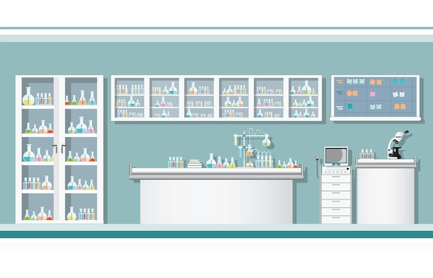 Wnętrze nauki laboratorium lub laboratorium pokój.