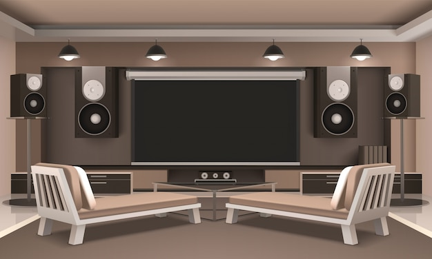 Wnętrze nowoczesnego kina domowego