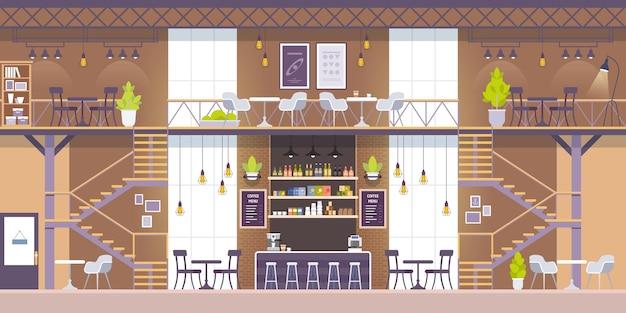 Wnętrze nowoczesnej kawiarni w stylu loftu. opróżnij żadnych ludzi.