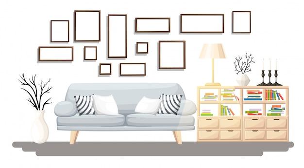 Wnętrze. nowoczesny salon z szarą sofą, wazonem, półką z książkami i lampą podłogową. wnętrze mieszkania w stylu. ilustracja przytulne wnętrze na białym tle