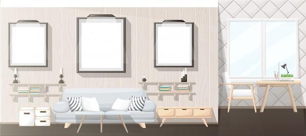 Wnętrze. nowoczesny salon z szarą sofą, wazonem, półką z książkami i szafką nocną. wnętrze mieszkania w stylu. ilustracja przytulne wnętrze na białym tle