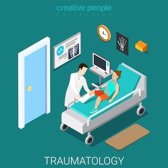 Wnętrze Oddziału Szpitala Traumatologicznego Płaskie Izometryczne Premium Wektorów