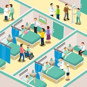 Wnętrze oddziału szpitalnego w 3d izometrycznej płaskiej konstrukcji