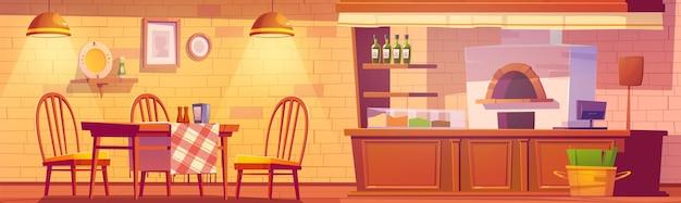 Wnętrze pizzerii lub przytulnej rodzinnej kawiarni z piekarnikiem na pizzę, kasą, drewnianymi stołami i krzesłami w stylu rustykalnym.