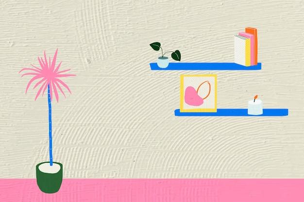 Wnętrze płaskie tło graficzne w kolorowym, ręcznie rysowanym projekcie
