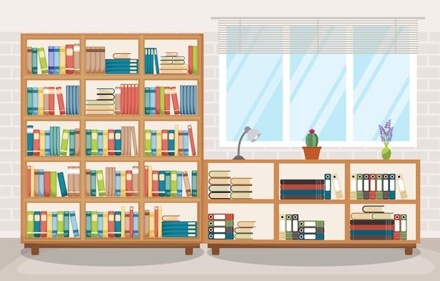 Wnętrze pokoju biblioteki stos książki na półce płaska konstrukcja