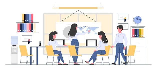 Wnętrze pokoju biura podróży. ludzie siedzący przy biurku i pracujący na komputerze. klient wybierający wycieczkę. biuro ośrodka turystycznego. ilustracja.