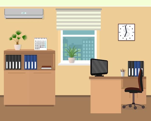 Wnętrze pokoju biurowego. projekt przestrzeni roboczej z zegarem, klimatyzacją i panoramą miasta za oknem.