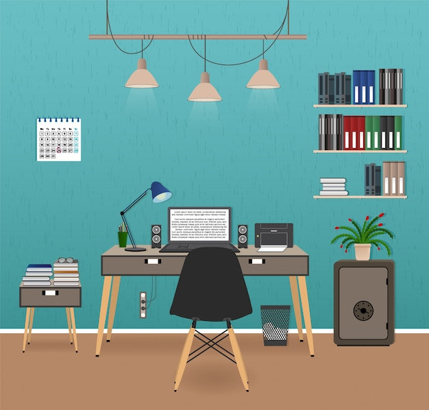 Wnętrze pokoju biurowego z miejscem do pracy. organizacja miejsca pracy w biurze firmy. projekt szafki roboczej z meblami.