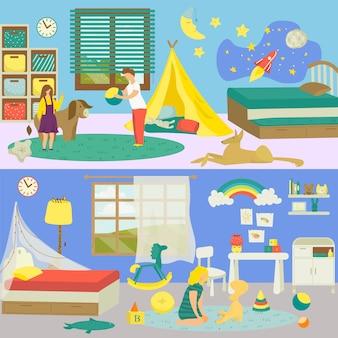 Wnętrze pokoju dziecięcego z ilustracją zwierząt domowych. ładny chłopak dziewczyna osoba na tle krajowym, mały zabawny kot pies w domu. młoda sypialnia w domu dziecka, wypoczynek z zabawkami.