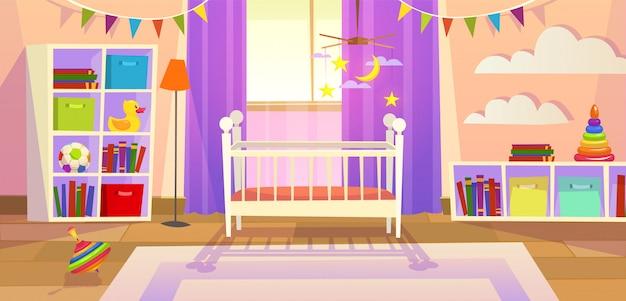Wnętrze pokoju dziecinnego noworodka meble łóżeczko dziecięce zabawki rodzina styl życia pokój zabaw dla dzieci