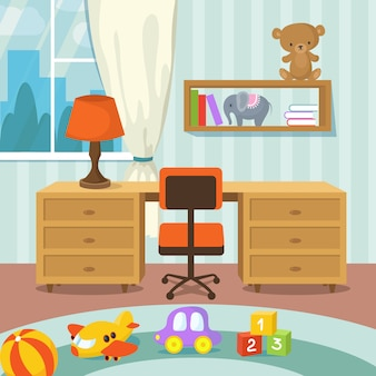Wnętrze pokoju dziecka z łóżka i zabawki w stylu ilustracji wektorowych płaski