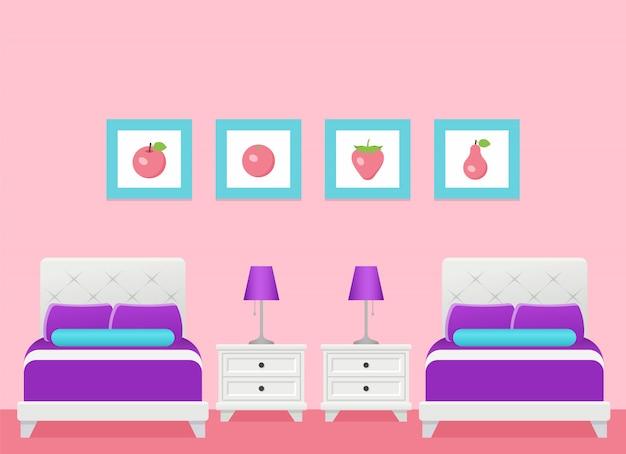 Wnętrze pokoju hotelowego z dwoma łóżkami, sypialnia. ilustracja.
