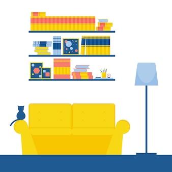Wnętrze Pokoju. Kanapa I Kot, Projektowanie Mebli Premium Wektorów