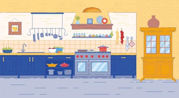 Wnętrze pokoju kuchennego w tradycyjnym stylu rustykalnym