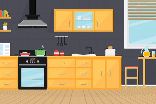 Wnętrze pokoju kuchennego z urządzeniami elektrycznymi, zlewem, meblami i naczyniami.