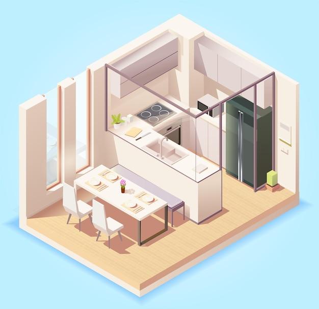 Wnętrze pokoju nowoczesnej kuchni z meblami