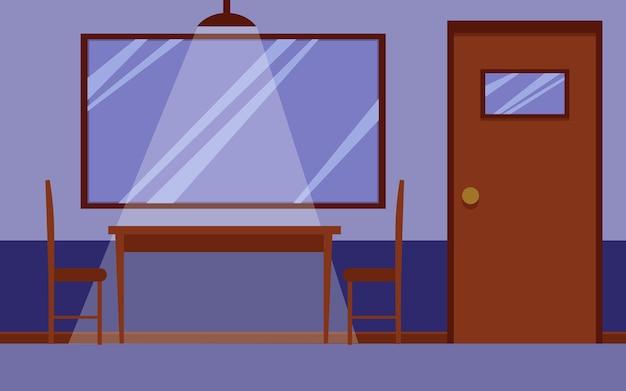 Wnętrze pokoju przesłuchań komisariatu z drewnianym biurkiem i krzesłami do przesłuchania oraz lustrem w jedną stronę na ścianie i nikogo w środku. ilustracja kreskówka.